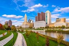 Columbus, Ohio, USA Skyline. Columbus, Ohio, USA downtown skyline over the Scioto River royalty free stock images