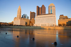 Columbus, Ohio - winter afternoon. Columbus, Ohio - downtown seen during winter afternoon accross the river royalty free stock photos