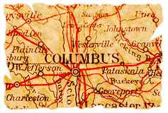 Columbus old map. Columbus, Ohio on an old torn map from 1949, isolated. Part of the old map series royalty free stock images
