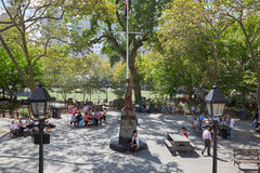 Columbus Park with people playing chess in New York Royalty Free Stock Photos