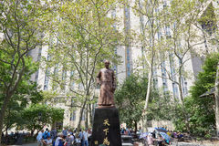 Columbus Park with people playing Chinese Chess in New York Royalty Free Stock Photography