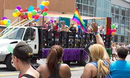 Columbus PRIDE parade crowds and float Royalty Free Stock Photos