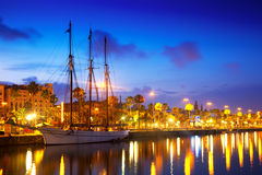 Columbus Quay from Port Vell in evening. Barcelona Stock Photo