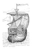 Columbus ship. Ship of Christopher Columbus. Print from an old swedish book Historisk lasebok from 1882 stock illustration