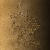 Columbus ship. Bas relief of Columbus ship on old brown paper  made for Columbus day Royalty Free Stock Photos
