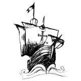 Columbus ship. Hand draw by pencil made for Columbus day Stock Images