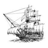 Columbus ship. Hand drawn on white background Stock Photo