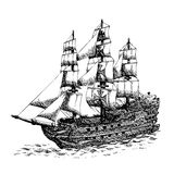 Columbus ship. Hand drawn on white background Royalty Free Stock Photography