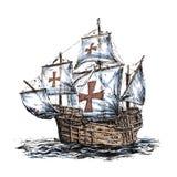 Columbus ship. Hand drawn on white background Royalty Free Stock Photos