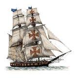 Columbus ship hand drawn Royalty Free Stock Photography