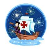 Columbus on the ship  2. Columbus on the ship for your design Stock Photo