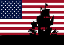 Columbus ships 1. Silhouette of three ships of columbus with stars and stripes Royalty Free Stock Photos