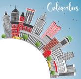 Columbus Skyline avec Gray Buildings, le ciel bleu et l'espace de copie illustration stock
