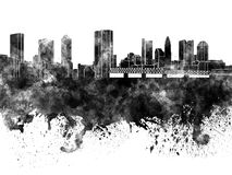 Columbus skyline in black watercolor Royalty Free Stock Image