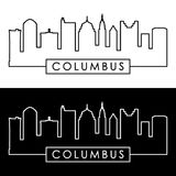 Columbus skyline. Linear style. Royalty Free Stock Image