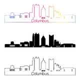 Columbus skyline linear style with rainbow Stock Images