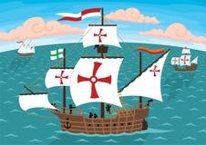 columbus statki s royalty ilustracja