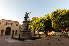 Columbus Statue and Cathedral at Colon Park in Santo Domingo, Dominican Republic Stock Images