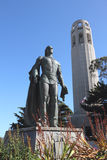 Columbus statue and Coit Tower Royalty Free Stock Images