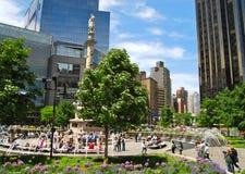 Columbus statue at Columbus Circle, New York City. Stock Images