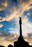 Columbus statue with sunset sky Royalty Free Stock Images
