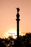 The Columbus Status in the Barcelona stock photos