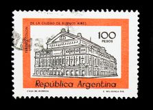 Columbus Theatre, Buenos Aires, Building definitives serie, circ. MOSCOW, RUSSIA - MARCH 18, 2018: A stamp printed in Argentina shows Columbus Theatre, Buenos royalty free stock photography