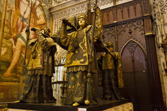 Columbus tomb golden statues of coffin bearers Stock Images