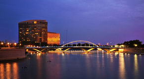 Columbus Town St. bridge at night. Photograph of the new Town St. bridge taken from the Scioto mile Stock Photo