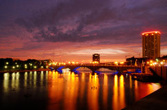 Columbus Town St. bridge at night Stock Photography