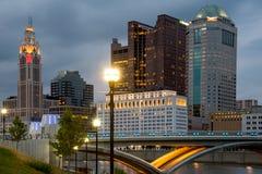 Colummbus Ohio Skyline. Columbus Ohio Skyline with Rich Street Bridge lit up at night royalty free stock images