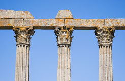 Column. Old ancient antique column in roman stile Temple of Evora Royalty Free Stock Photos