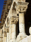 Column. Romanesque columns and capitals in a romanesque church in Soria (spain Stock Image