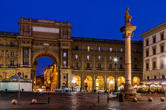 The Column of Abundance in the Piazza della Repubblica. In the Morning, Florence, Italy royalty free stock image