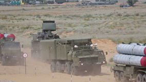 A column of air defense systems stock video footage