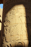 Column with ancient egypt images and hieroglyphics Royalty Free Stock Image