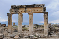 Column - Ancient Greco-Roman and Byzantine city of  Hierapolis Stock Image