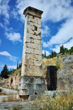 Column in Ancient Greek archaeological site of Delphi, Greece. Column in Ancient Greek archaeological site of Delphi,Central Greece Stock Photography