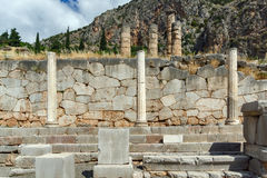 Column in Ancient Greek archaeological site of Delphi, Greece. Column in Ancient Greek archaeological site of Delphi, Central Greece Stock Photo
