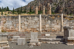 Column in Ancient Greek archaeological site of Delphi, Greece. Column in Ancient Greek archaeological site of Delphi, Central Greece Stock Images