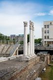 Column at Antique Forum with Odeon in Plovdiv, Bulgaria Royalty Free Stock Images