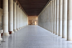 Column arcade of museum. Ancient Agora, Athens, Greece Royalty Free Stock Image