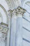 Column and arch. Details of Baptistery of St. John in the Piazza dei Miracoli,Pisa,Italy Stock Photography