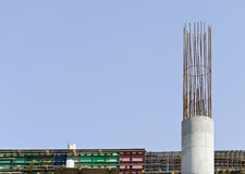 Column armatures. Unfinished building concrete column foundation Stock Photo