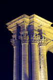 Column at the Basilica Cathedral of Arequipa, Peru. Column and arch at the side of the Basilica Cathedral of Arequipa lit at night. The city center of Arequipa Royalty Free Stock Photo
