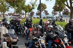 A column of bikers in Bordeaux, France Royalty Free Stock Photography