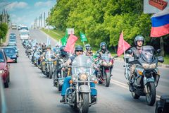 Column of bikers dedicated to the action against drugs and smoking. royalty free stock photography