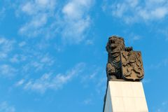 The column with a bronze lion placed on its top, Bratislava, Slovakia royalty free stock photos