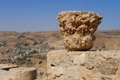 Column capital on the ruins of medieval Kerak castle in Jordan Royalty Free Stock Photos