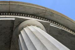 Column capital stone and blue sky. World war ii memorial columns and blue sky in wintertime at dc Stock Photography